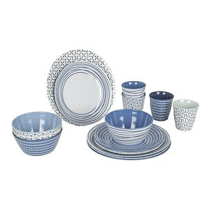 Campingservies 16-delig mix&match blauw